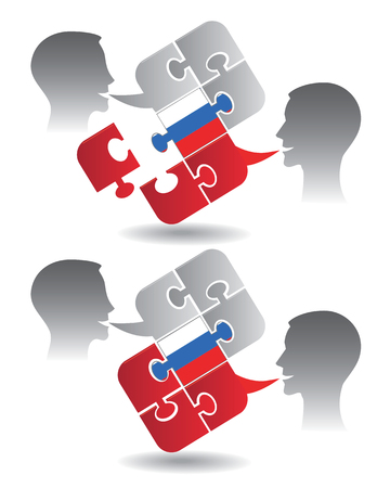 pronounce: Two students and Puzzle bubble talk with a Russian flag symbolizing Russian conversation Vector illustration