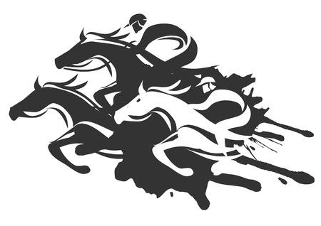 Illustratie van Horse Racing bij Full Speed Black Vector illustratie op witte achtergrond Stock Illustratie