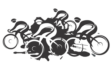 healthy path: Black vector illustration of cycling race with four bike riders on the white background  Imitating hand ink drawing