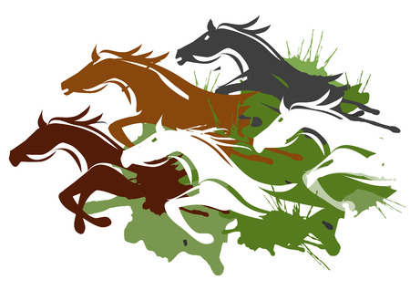 hoog gras: Illustratie van paarden die door het hoge gras Kleurrijke Vector illustratie op witte achtergrond