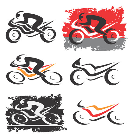 differently: Set of differently styled motorbike icons  Vector illustration
