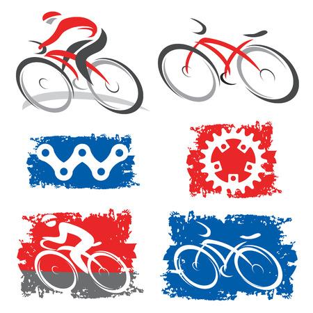 サイクリングとサイクリング要素ベクトル イラストのカラフルなアイコン  イラスト・ベクター素材