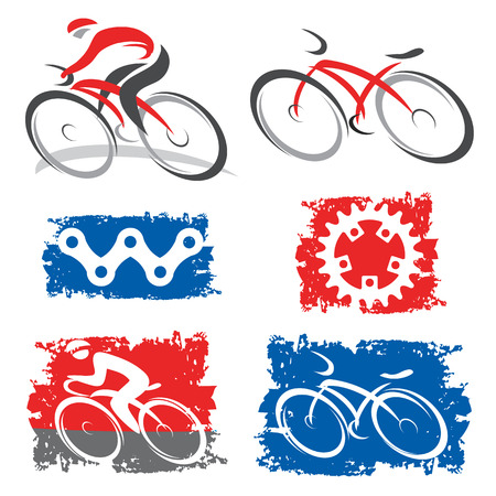 Colorful icons of cycling and cycling elements Vector illustration
