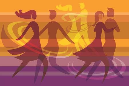 bailarines silueta: Color de fondo con tres parejas de baile, ilustración vectorial