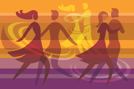 dance music: Colorful background with three dancing couples, Vector illustration