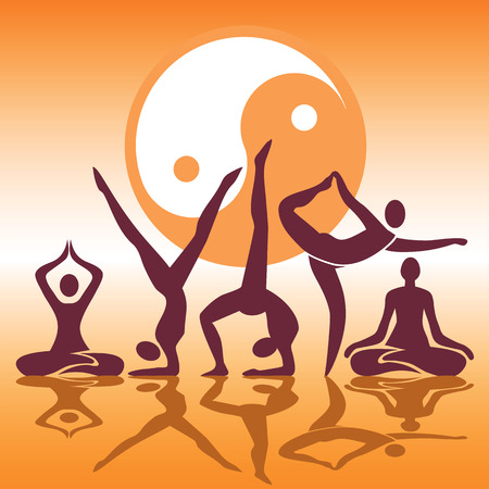 guru: Human silhouettes with Yoga positions