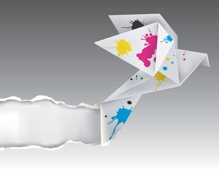 polygraphy: Illustration of folded paper dove with splashes of ink ripped paper   Concept for presenting color printing press