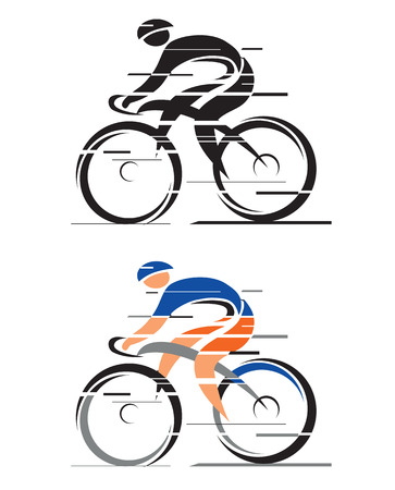 Two graphic styled racing cyclists   Vector illustration