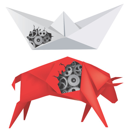 Imaginary mechanical origami Bull and Boat with gears illustration  Vector