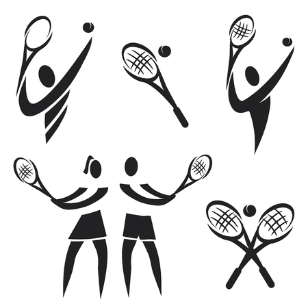 Set of black icons of tennis illustration  Vector