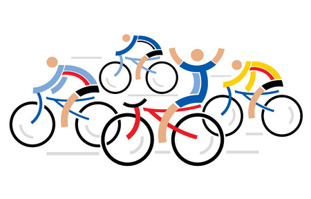 bicycling: Four graphic styled racing cyclists illustration