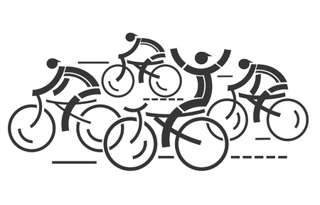 healthy path: Cycling competition  Four graphic styled racing cyclists illustration  Illustration