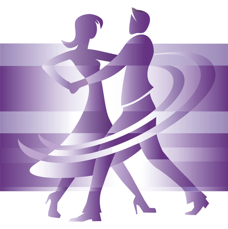 Couple dancing ballroom dance, cartoon on the abstract background illustration