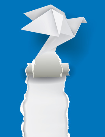 illustration of Origami Dove tearing blue paper with place for your image or text