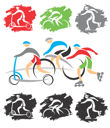 Set of colorful grunge symbols of cycling, scooter, in line skating illustration  Vector
