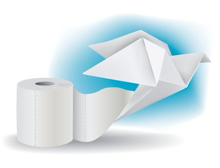 toilet paper art: Origami pigeon taking off from a roll of toilet paper illustration  Illustration