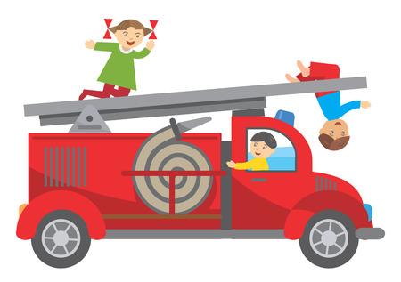 brandweer cartoon: Drie kinderen spelen op de brandweerwagen illustratie