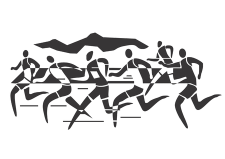 A stylized drawing of Marathon runners illustration  Иллюстрация