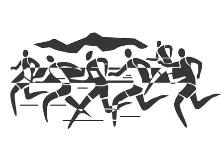 A stylized drawing of Marathon runners illustration  Illustration
