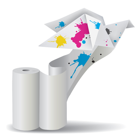 unwinding: Illustration of folded paper dove with splashes of ink unwinding a roll of paper   Concept for presenting color printing press