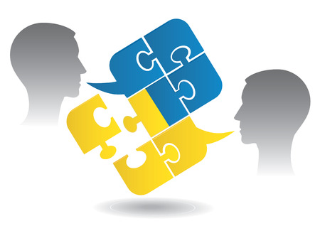Two men and Puzzle bubble talk with a Ukrainian flag symbolizing Ukrainian conversation or bad political dialog and conflict  Vector illustration  Vectores
