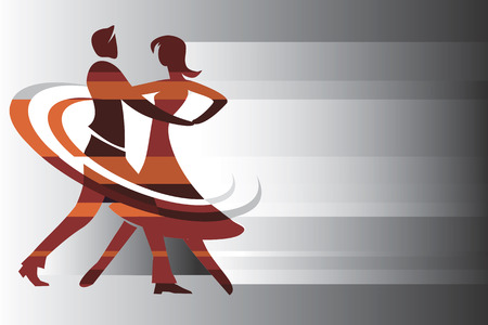 cartoon dance: Dancing couple on the abstract background  Vector illustration