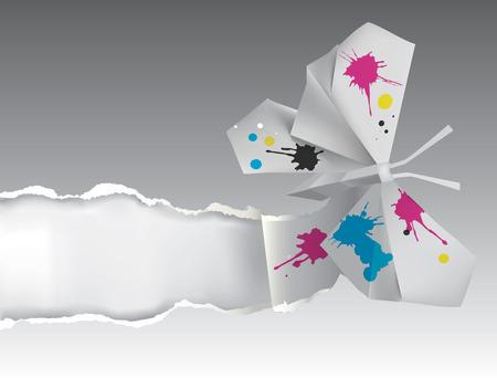 Vector illustration de papillon Origami papier déchirer avec la place pour votre texte ou image symbolisant Thème Beaux-Arts, l'éducation artistique, l'impression