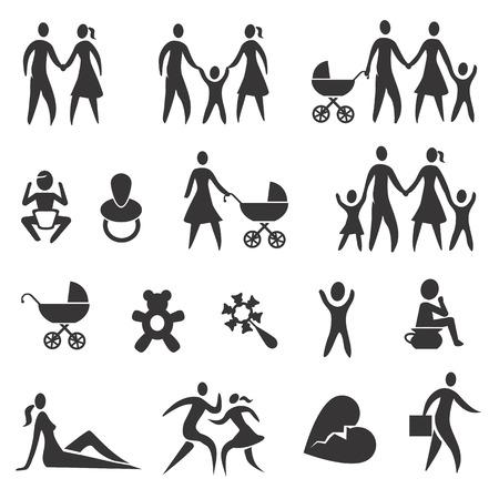 suckling: Set di icone di vita a casa, bambini, famiglia