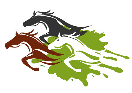 Illustration of horses running through the tall grass.  Colorful illustration on white background. Vector