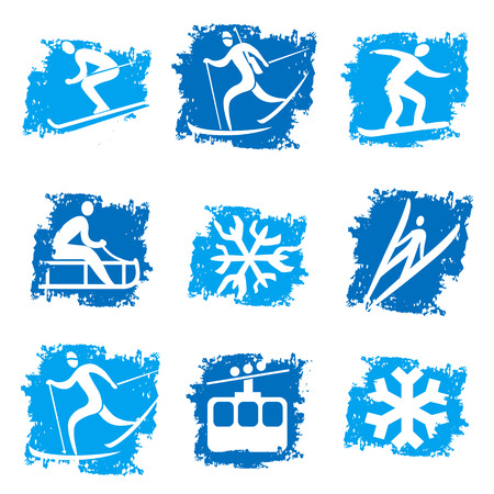 cross country skiing: Set of grunge winter sport icons. Vector illustration.