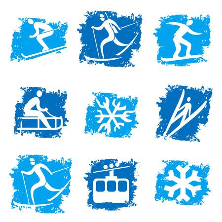 winter sport: Set of grunge winter sport icons. Vector illustration.