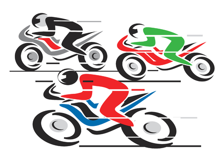 Three motorcycle competitors in the final stretch. Illustration. Vector