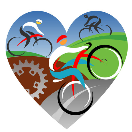 bicycling: Three stylized cyclists in heart shaped background. Vector illustration.