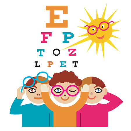 human eye: The sun as an eye doctor examining children using eye chart. Illustration