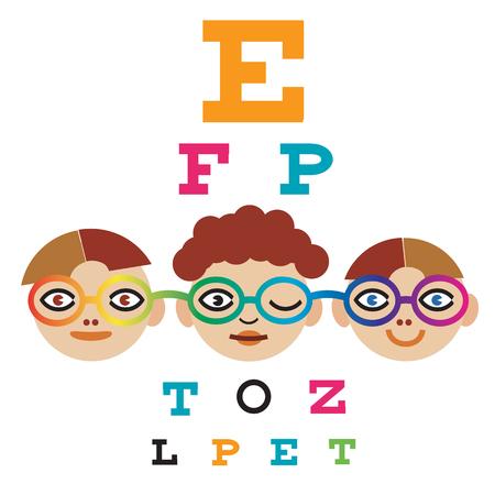 examen de la vista: Tres niños medir la vista utilizando la carta de ojo.