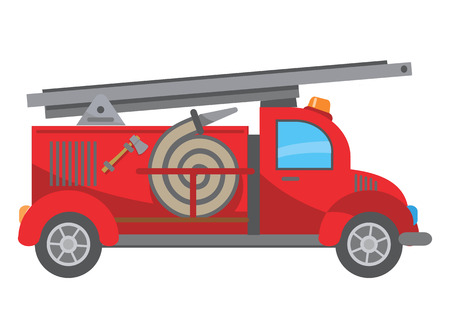 Three Children playing on the fire truck.  Vector