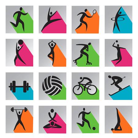 balon de voley: Conjunto de iconos modernos de colores con sombra larga con actividades deportivas, gimnasia y yoga
