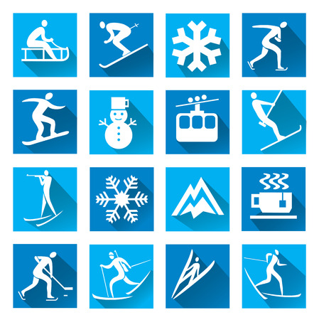 competitor: Set of modern icons with long shadow with winter sport symbols. Vector illustration.