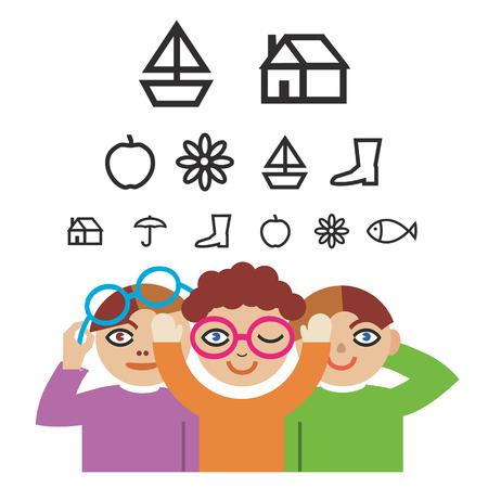 Tres niños con pictogramas para las pruebas de optometría. Ilustración del vector.