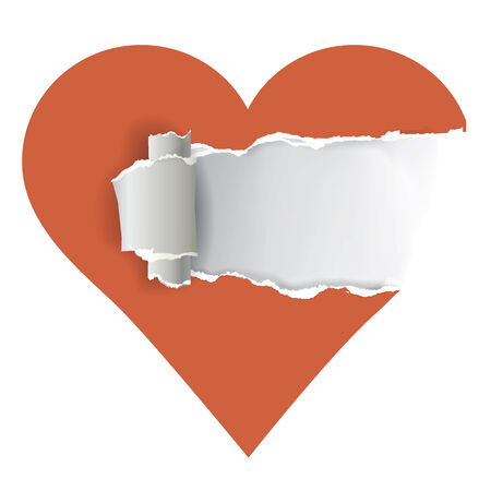 relationship problems: Torn paper heart with place for your text.