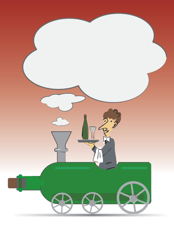 sommelier: Camarero en la botella de vino en la forma de una locomotora con lugar para el text.Concept para el men� dink o invitaci�n del partido. Ilustraci�n del vector.