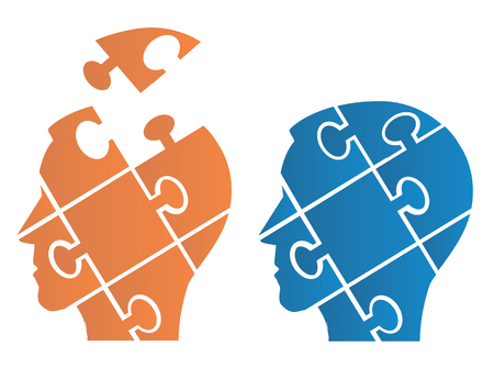 Two Puzzle heads silhouettes  symbolizing Psychology, psychological problems.Vector illustration. Vector