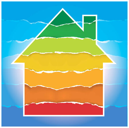 low scale: Symbol of house with torn paper background symbolizing Energy performance scale. Vector illustration.