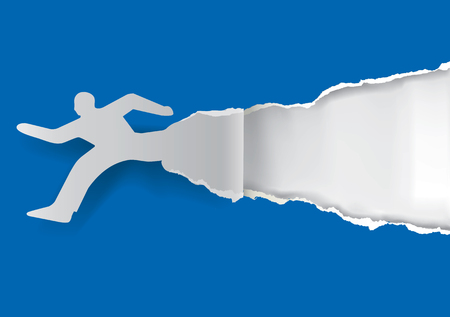 uncovering: Paper silhouette of  running man ripping blue paper background with place for your text or image.  Illustration