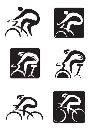 bicycle race: Set of  black icons of spinning  and cycling.  Vector illustration