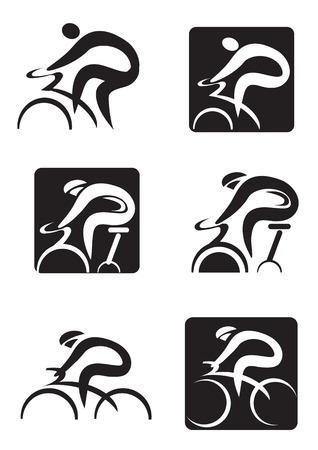 Zestaw czarnych ikon przędzenia i rowerowej. Ilustracji wektorowych