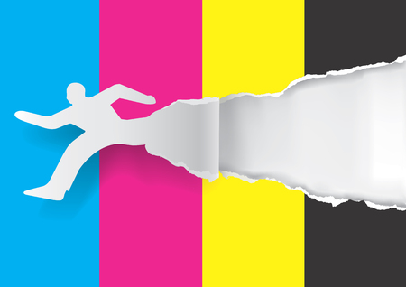 printing business: Paper silhouette of  running man ripping paper with print colors with place for your text or image.  Concept for presenting fast color printing. Vector illustration.