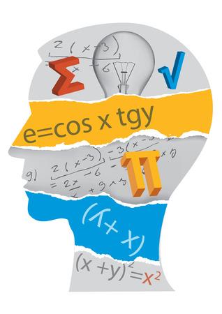 Human Head silhouette with mathematics symbols. Colorful illustration.