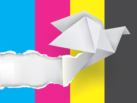 polygraph: Origami dove ripping paper with print colors. Illustration.