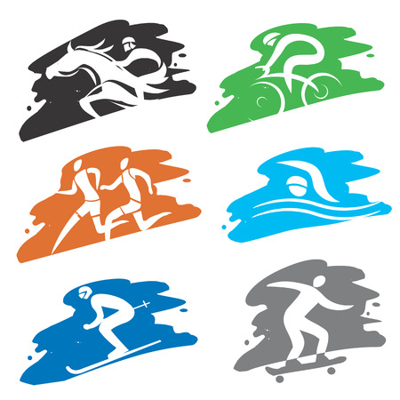 Sport icons on the grunge colorful background. Ilustration. Vector